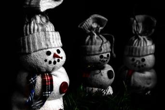 Macro snowman toys scary