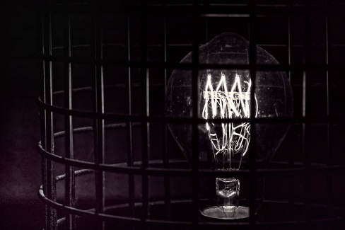 Tesla: Abstract Light Bulb - Black & White
