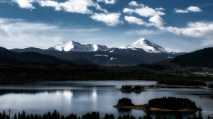 Blue Silk: Independence Mountain and Keystone Mountain from Dillon Reservoir, Summit County, Colorado
